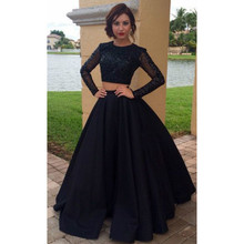 Long Sleeve Black Jewel Neck Satin 2 Pieces Prom Dresses 2017 Evening Gowns Vestidos De Baile