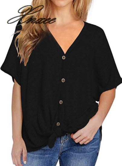 2019 Summer Short sleeved Knit Top V neck Hem Twisted Button Top Fashion Women 39 s Top in T Shirts from Women 39 s Clothing