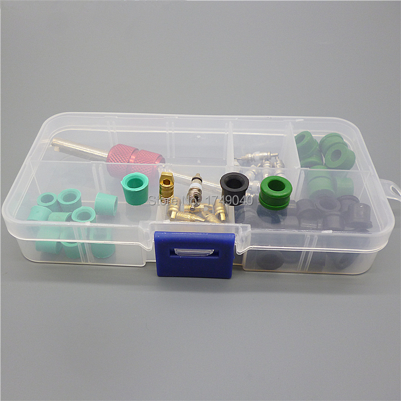 Car Air Conditioning Hose Adapter Gasket Valve Core Remover Tool Assortment