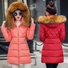 New arrival 2016 slim down cotton-padded jacket female slim waist wadded jacket large fur collar winter Parkas female
