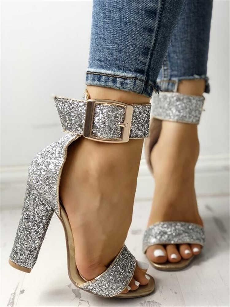 bb70b61ad93 LAPOLAKA 2019 Glittering Stylish Sequin Open Toe Chunky Heeled Sandals high  heels Sexy party wedding Women Shoes Woman