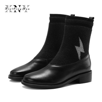 XiuNingYan 2018 New Autumn Winter Shoes Women Boots Genuine Leather Slip on Round Toe Black Wine Red Women Casual British Boots