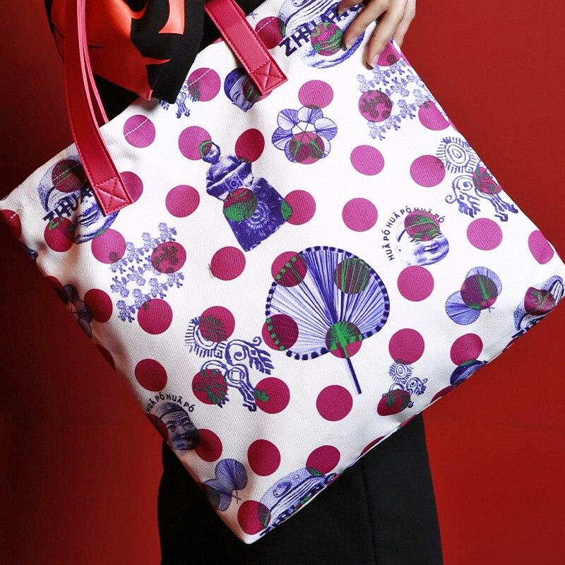 MENOGGA 2019 Cotton Ecobags Tote Durable Reusable Shopping Bag Chinese Style Polka Dot Roomy Multiple Use Women