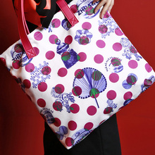 MENOGGA 2019 Cotton Ecobags Tote Durable Reusable Shopping Bag Chinese Style Polka Dot Roomy Multiple Use Women