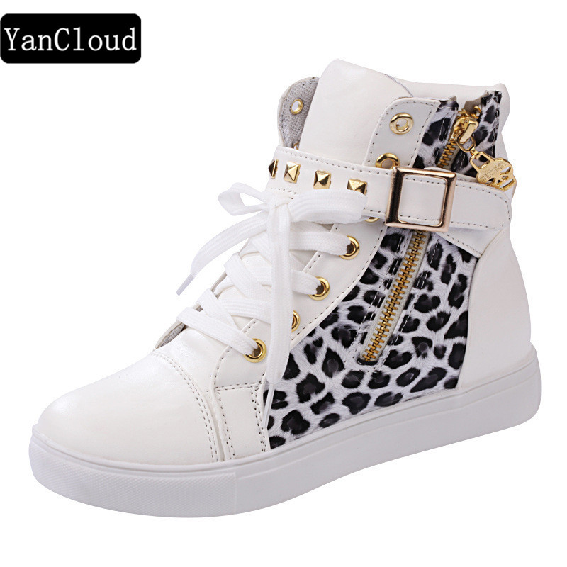 New Fashion High-top Leopard Prindi Lillede lõuend Kingad Naiste - Naiste kingad