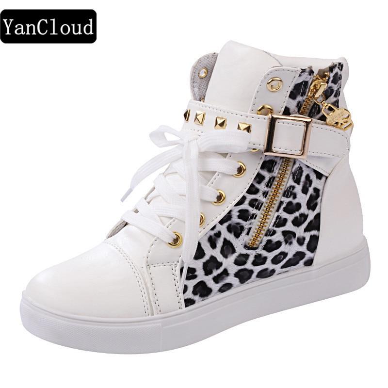 Neue Mode High-top Leopardenmuster Blume Leinwand Schuhe Frauen - Damenschuhe