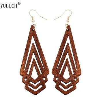 YULUCH pendientes de madera Natural geométrica triángulo hueco personalidad estilo Simple joyería de moda para mujer niñas fiesta de graduación