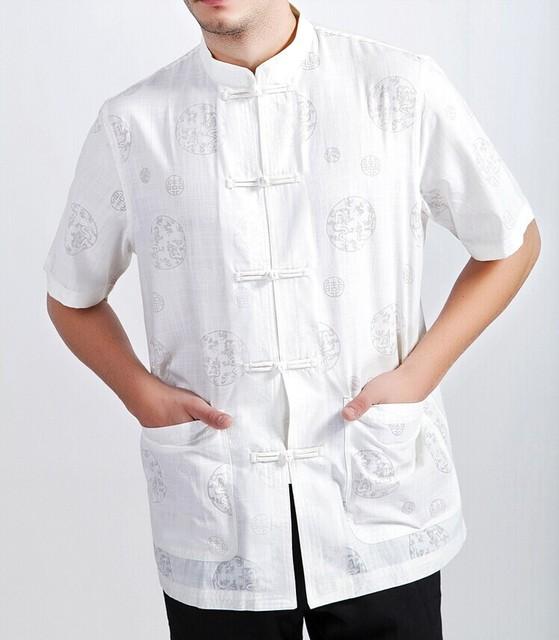 Nuevo blanco de la llegada Hombres chinos de Kung Fu Camisa de la tapa de manga corta para Hombres Camisa tamaño de la ropa sml XL XXL XXXL Mny-07A