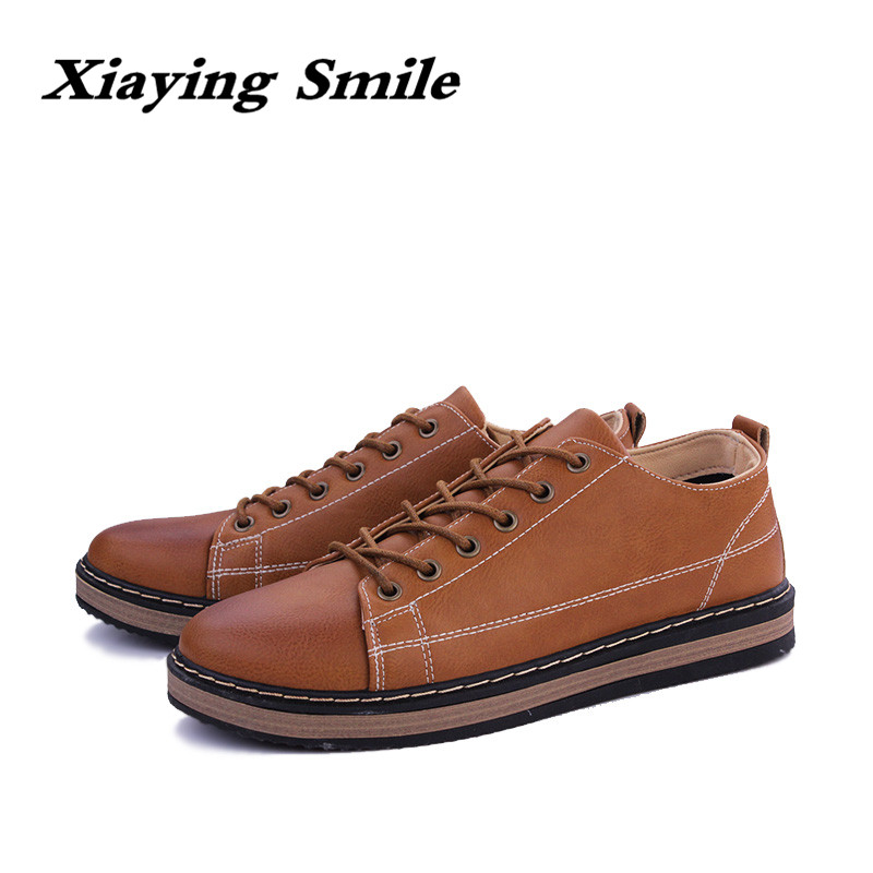 2018 Men's Fashion Leather Work Shoes Lace Up Casual Shoes Genuine Leather Male Student Skate Shoe Low Shoes Zapatos De Hombre fashion high top mens genuine leather work casual shoes lace up tenis flats footwear breathable male shoes punk zapatos hombre