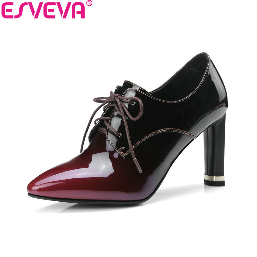 ESVEVA 2018 Western Style Women Pumps Cow Leather PU Handmade Square High Heels Lace Up Pointed Toe Ladies Shoes Size 34-43 esveva 2018 pointed toe western style women pumps cow leather pu square high heels lace up out door ladies shoes size 34 43