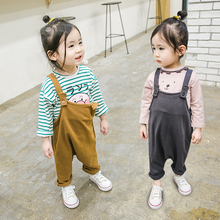 MILANCEL 2018 New Girls Clothing Cotton font b Baby b font Overalls Solid Kids Pants Spring