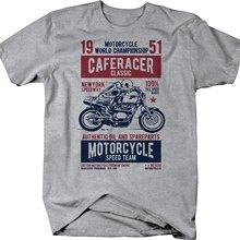 Camiseta negra de manga corta de 2019 a la moda con estampado redondo Café Racer motocicleta velocidad equipo Racer Vintage clásico camisetas personalizadas