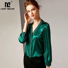 100% Pista Camisas das Mulheres de Seda Pura Sexy V Neck Mangas Compridas Bordado Lace Guarnição Tubulações de Moda de Alta Qualidade Camisas blusas