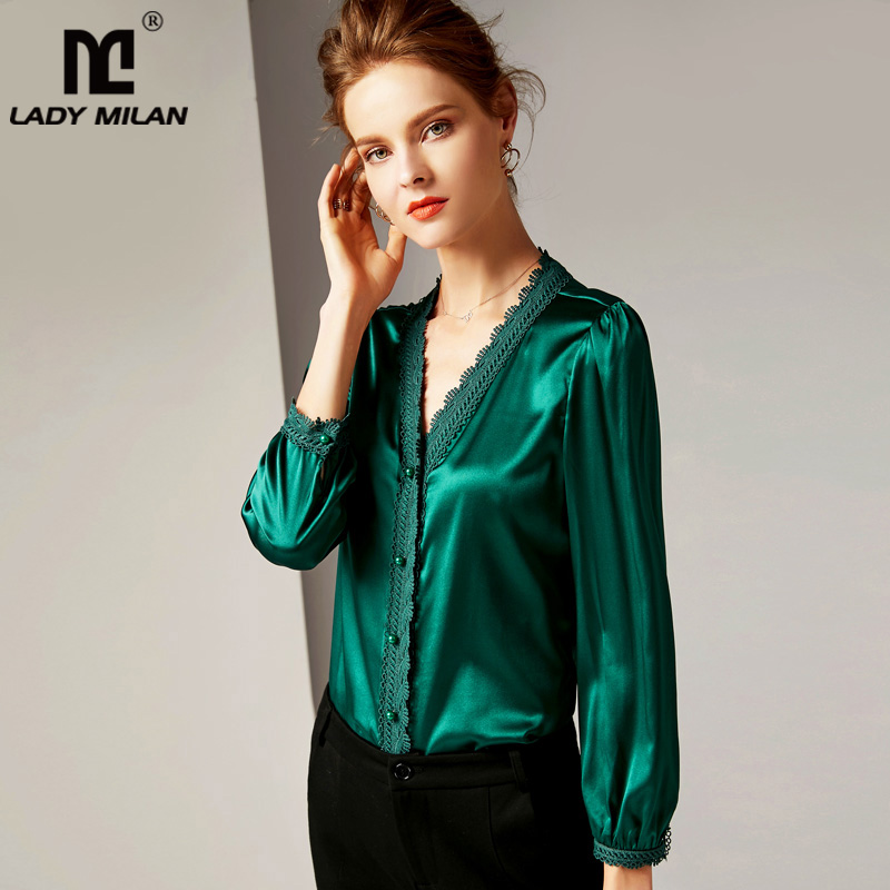 100% Pure Silk Women's Runway Shirts Sexy V Neck Long Sleeves Embroidery Lace Trim Piping Fashion High Quality Shirts Blouses