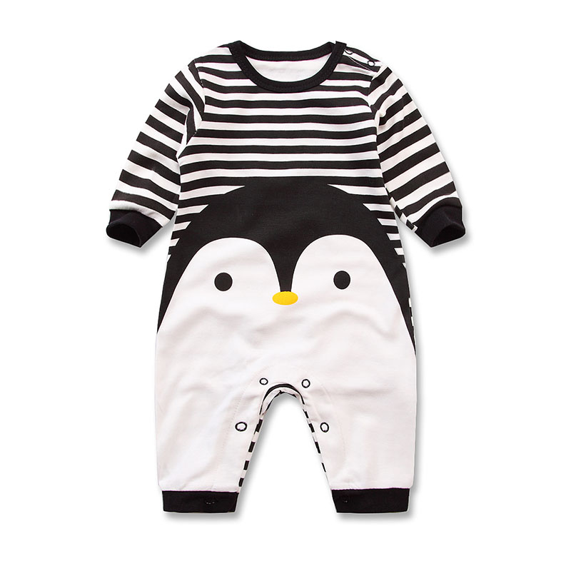 2017 Spring Autumn long sleeved cotton Romper baby clothes children s clothing cartoon Penguin baby animal