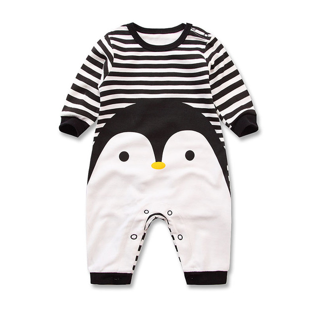 2018 Primavera Autunno a maniche lunghe in cotone Pagliaccetto vestiti del bambino bambini vestiti del fumetto del bambino Pinguino animale ragazza tuta Del Pagliaccetto