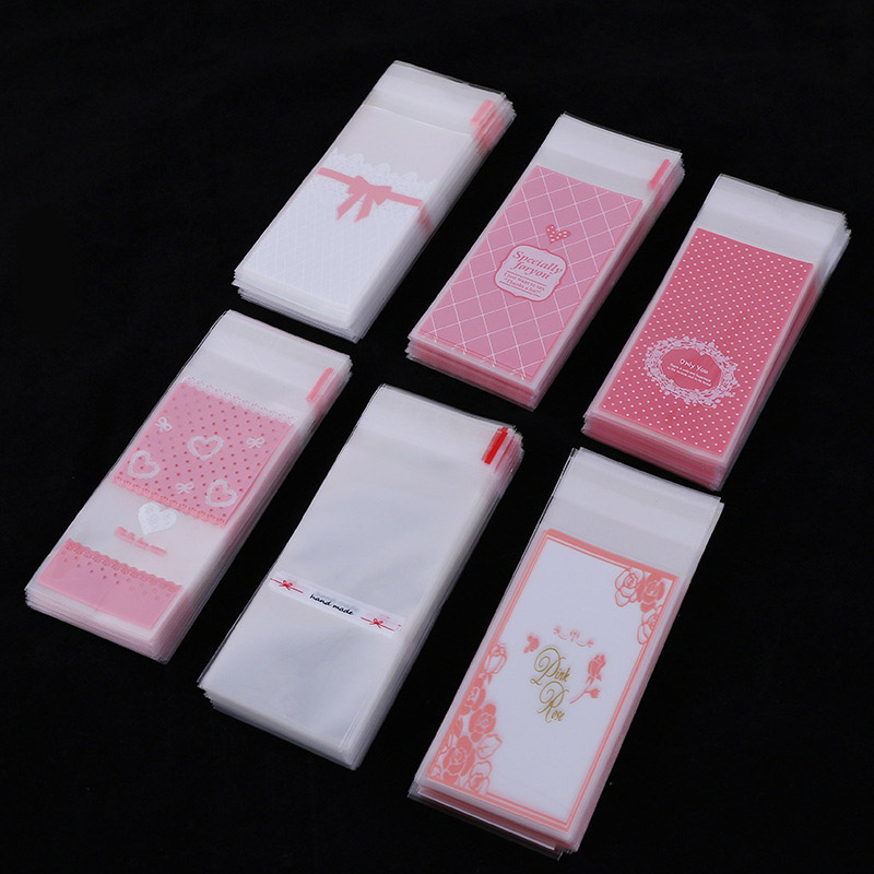 100pcs/lot Size 5*10+3cm Plastic Cookie Packaging Cupcake Wrapper Bags Opp Self Adhesive Gift Bag For DIY Candy Lipstick Packag