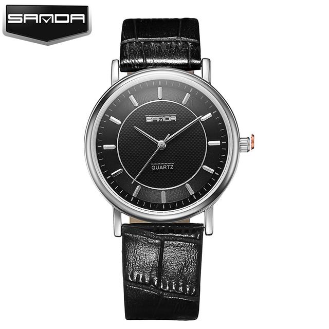 Sanda famosas marcas de lujo relojes de las mujeres ultra delgado señoras de la moda reloj de cuarzo reloj de cuero de moda oro montre femme reloj