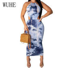 WUHE Summer Vintage Tie-dyed Printed Halter Party Maxi Dress Elegant Sleeveless Back Lace-up Bodycon Pencil Women Dresses fashionable lace up u neck tie dyed sleeveless dress for women