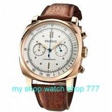 PARNIS 45mm nueva moda Japonesa movimiento de cuarzo caja oro rosa esfera blanca hombres reloj 0260aaa