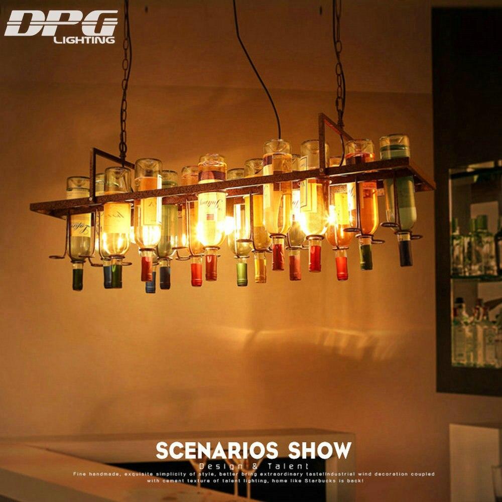 Vintage style loft led lampe pendentif accroché lumières en verre bouteilles lumière E27 LED éclairage industriel pour bar restaurant décoration
