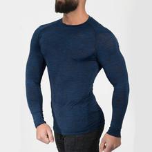 4144945212f Для мужчин сжатия Quick dry с длинным рукавом футболка человек тренажерный  зал Фитнес Training Футболка Мужчины