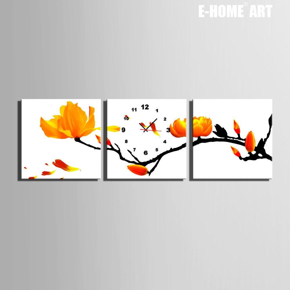 Livraison Gratuite E-HOME Plein de Fleurs Jaunes Horloge Sur Toile 3 pièces horloge murale
