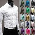 1 шт. Мужские Хлопковые Рубашки Slim Fit Стильный Рубашки Вскользь Платья Tee Топы 10 Цвета 4 Размер l