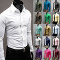 1pc Mens Shirts Cotton Slim Fit Stylish Casual Dress Shirts Tee Tops 10 Colors 4 Size l