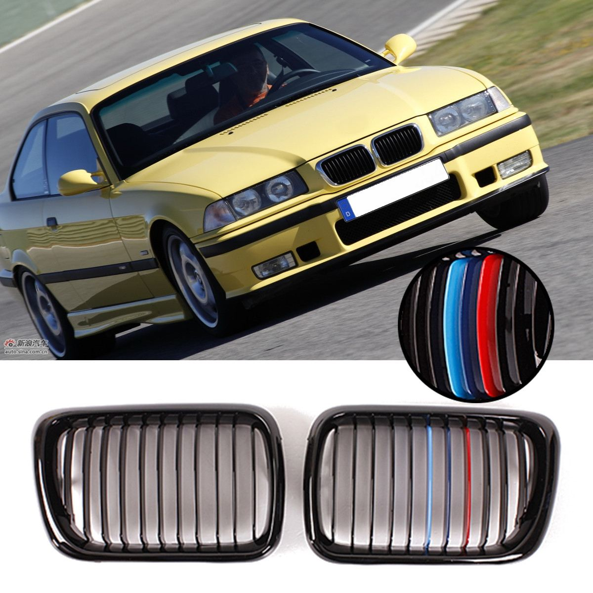 Front Gloss/Matte Black M Style/Chrome Kidney Grille Grill For BMW E36 3 Series M3 1997-1999 Car Racing Grills цена