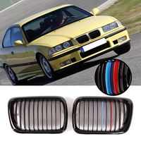 Front Gloss/Matte Black M Style/Chrome Kidney Grille Grill For BMW E36 3 Series M3 1997 1999 Car Racing Grills