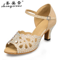 WUXIJIAO sequins cloth plus drill Latin dancing shoes brand high grade salsa party ballroom 7 cm at the bottom of the shoes