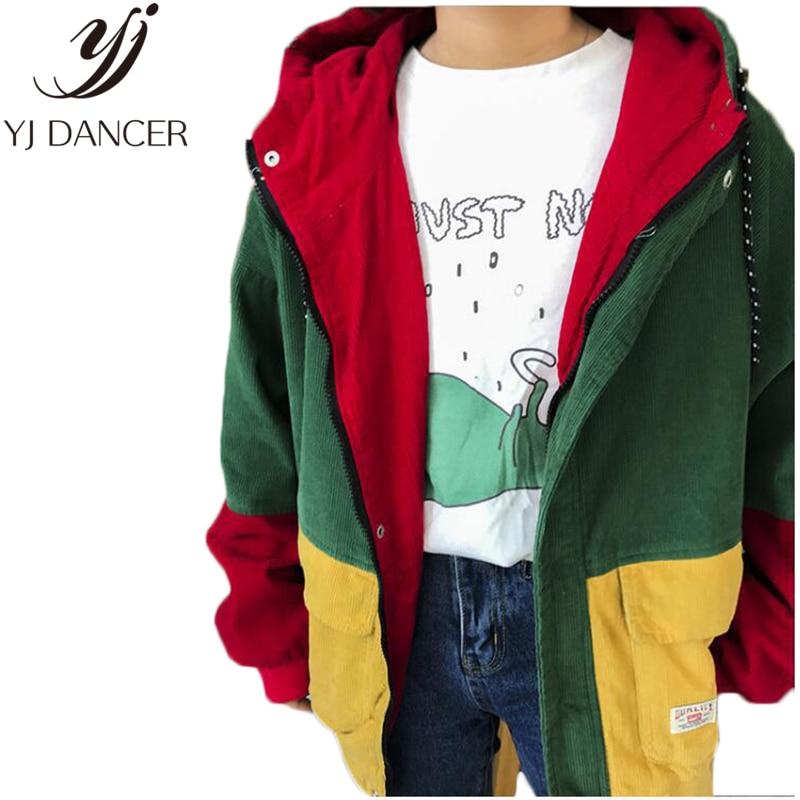 2018 hiver chaud couleur bloc à capuche velours côtelé veste cordon Hit couleur patché poche épaisse de base femmes manteau Harajuku Ljj0164