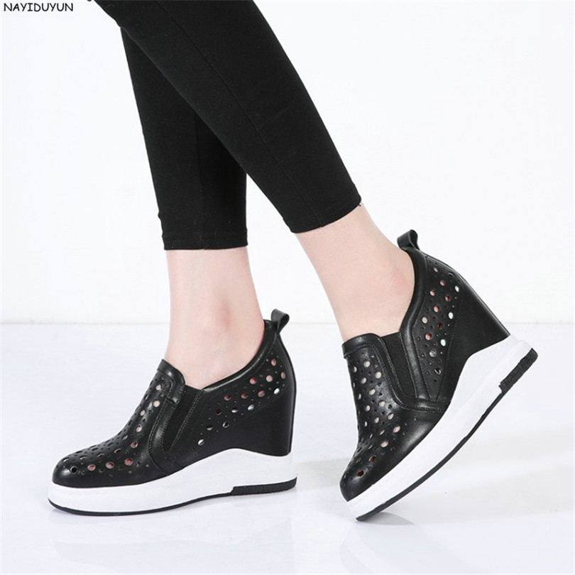 NAYIDUYUN   Women Cow Leather Wedge High Heel Platform Boots Round Toe Pumps Breathable Casual Shoes Ladies Sneakers Black White nayiduyun summer wedge high heels women casual platform pumps round toe breathable summer sneakers sandals school shoes chic