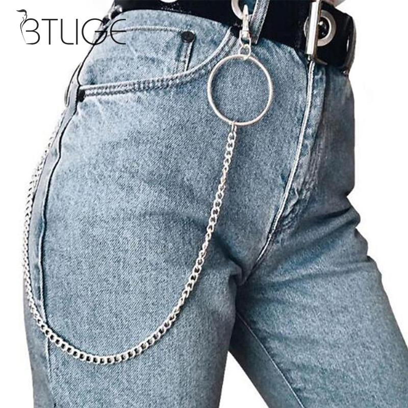 1-3 Layer Biker Punk Hook Trouser Pant Waist Link Belt Metal Wallet Silver Chain