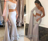 2019 One Shoulder Long Sleeve Evening Dress Elegant Arabic Dubai Two Pieces Holiday Women Wear Formal Party Prom Gown Plus Size