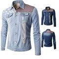 Bomber Denim Men Jacket Man Yeezus windbreaker Frayed USA Flag Lucky STARS Jean 2016 Winter Coat Botton Fashion Jackets Overcoat