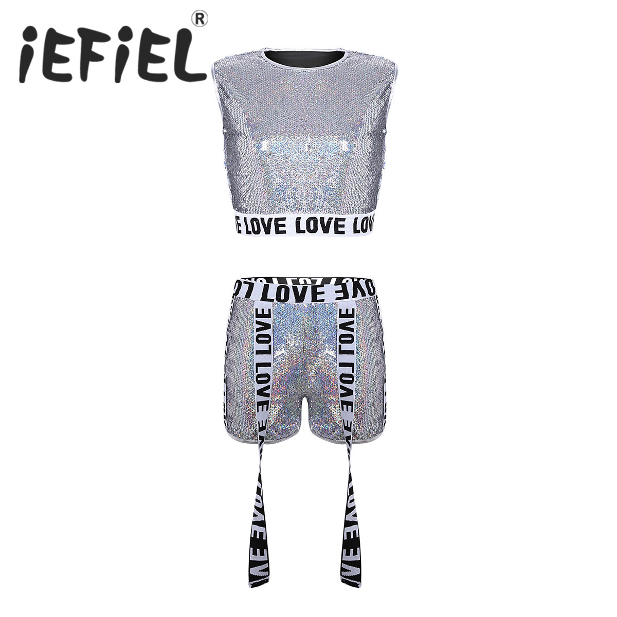 Female Women Sparkle Shiny Sequins Dance Suits Sleeveless Vest Crop Top with Shorts for Jazz Hip Hop Dancewear Stage Performance