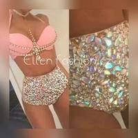 2016 Venus Vacation Hot Selling Open Hot Girl Push Up Bikini Fashion Bling Rhinestone Swimwear