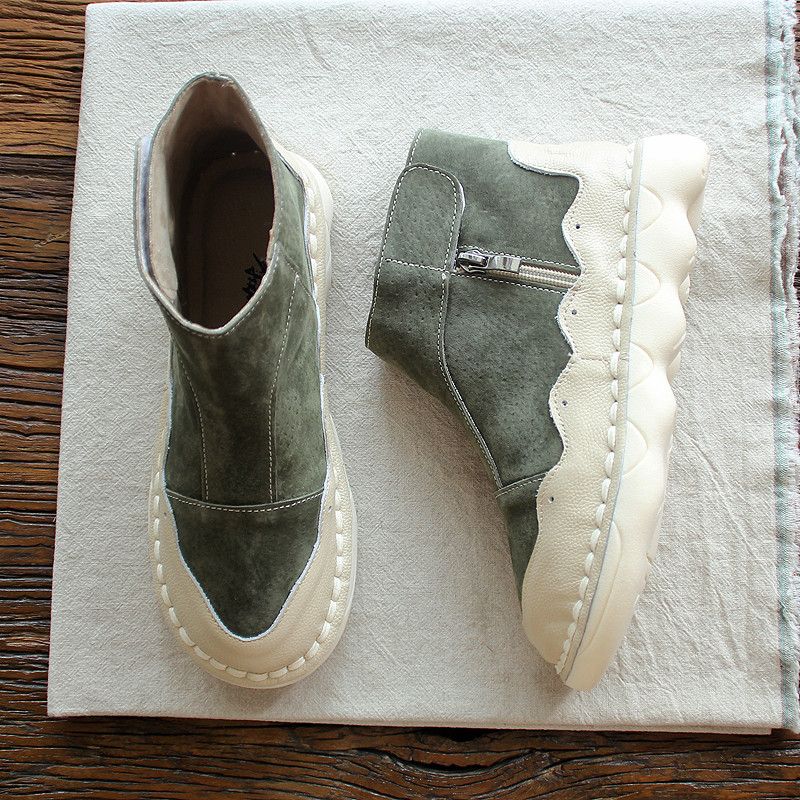 HUIFENGAZURRCS-Short autumn boots,casual arts retro boots,women's shoes, original hand made short boots, leather women's shoes