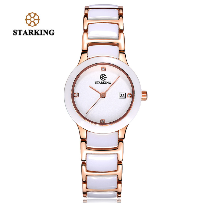 STARKING Watches Quartz Women Wristwatch Ceramic Watch Strap Elegant reloj Lady Simple Fashion Clock Gifts for Female women watches novel design shape quartz bamboo wristwatch with genuine leather watch strap casual clock gifts for female reloj