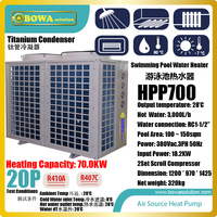 20P super Hi cop heat pump water heater is special design for 100~150sqm swimming pool, everything is put into one box