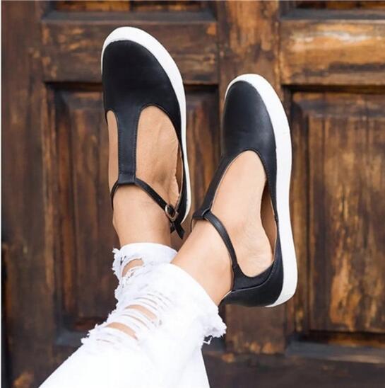Frauen Kappe 2018 Casual Müßiggänger Vintage Flache Einzelne Schnalle Solide Schuhe Runde Plattform Neue Weibliche 15wqF5xB