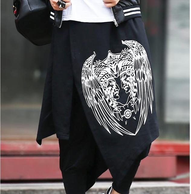 Nova Hop calças homens maré personalidade culottes Falso dois saia calça casual calças hairstylist boate DJ estágio cantor trajes