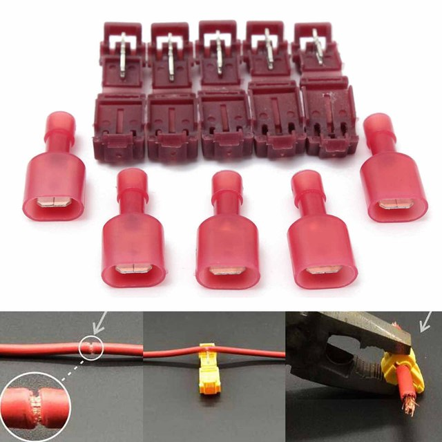 40pcs/set Red Wire Terminals Connectors Insulated Scotch Lock Quick Splice Wire Terminals Connectors For 22-18AWG Wire