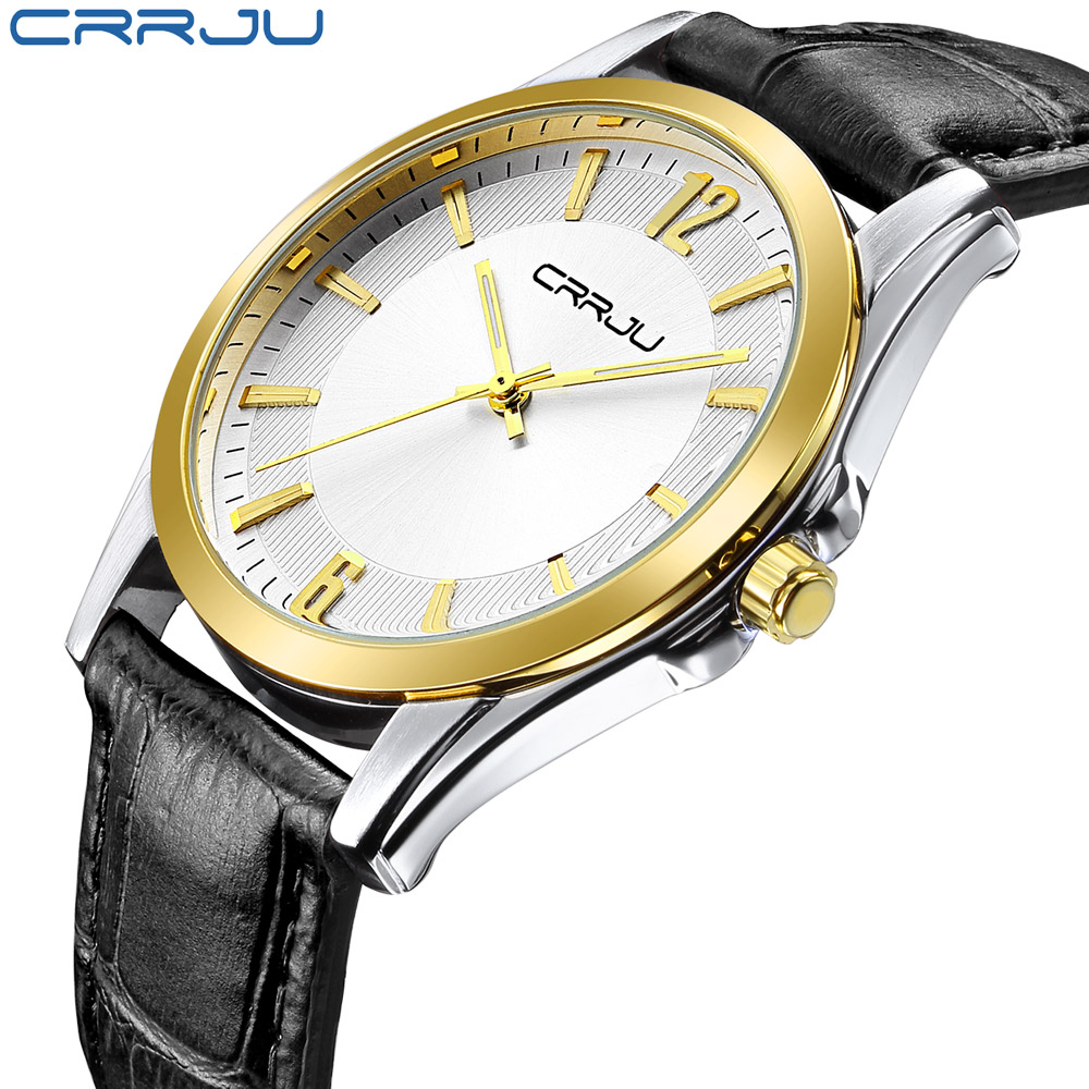 CRRJU Mens Watches Top Brand Luxury Ultra Slim Display Quartz Watch Men 2016 Business Leather Band Watches Relogio Masculino