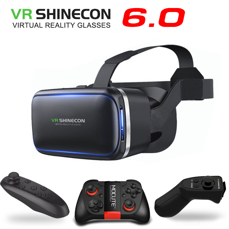 Original VR Shinecon 6.0 Virtual Reality 3D Glasses Cardboard VRBOX Helmet For 4.0-6.0 inch Smartphone With Wireless Controller