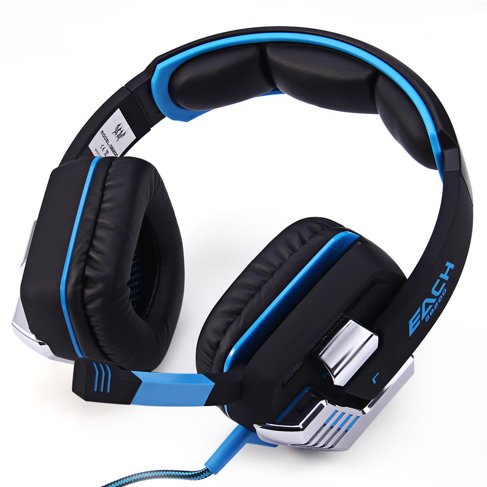 EACH G8200 Gaming Headphone 7.1 Surround USB Vibration Game Headset Headband Earphone with Mic LED Light for Fone PC Gamer PS4 xiberia k9 usb surround stereo gaming headphone with microphone mic pc gamer led breath light headband game headset for lol cf