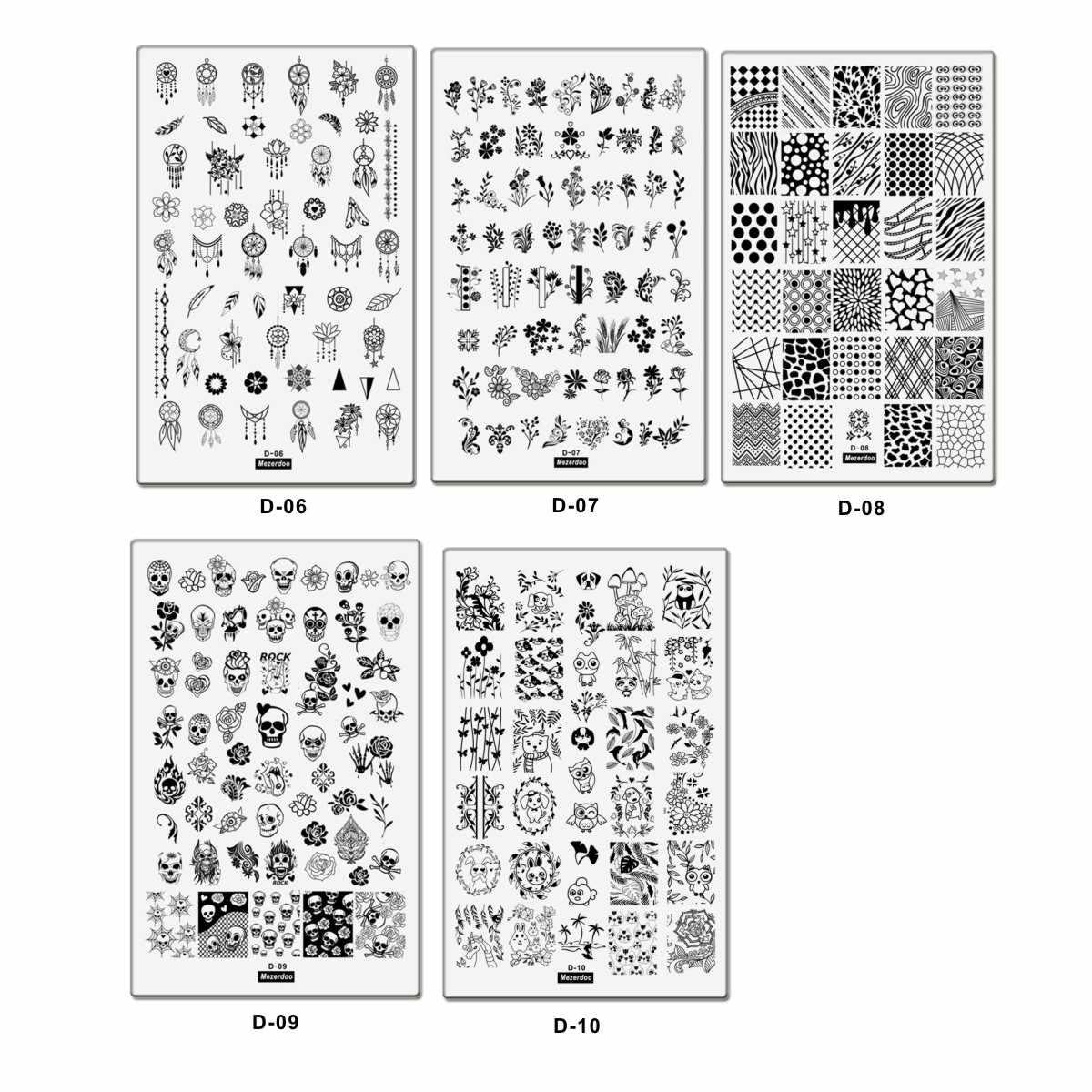 สัตว์น่ารักดอกไม้เรขาคณิตภาพ Diy Nail Art Stamping เหล็กแผ่นเล็บแผ่นแม่แบบแสตมป์ Stencil Collection