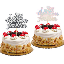 Gillter cake topper Flags I will love you forever Happy Birthday Cake Toppers Kids Gift Wedding Baby Shower Party Baking DIY New